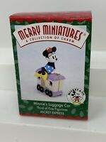 NEW DISNEY HALLMARK ORNAMENT MERRY MINIATURES MINNIE'S LUGGAGE CAR DATED 1998