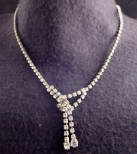 """Vintage Clear Prong Set Rhinestone Tassel Front Chain Necklace Silver Tn 16"""""""