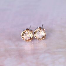 Man's Ear Stud 8 MM GP Light Brown Rhinestone CZ Earrings TI00119