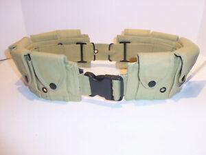 10 Pocket M1 Garand Utility Cartridge Ammo Pouch Canvas Adj Batman Belt - TAN