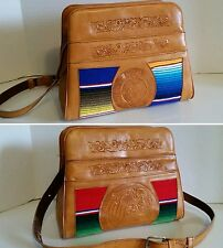 Brown Leather Mexican Hand Tooled Aztec Mayan Floral Shoulder Bag Purse