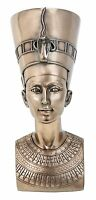 """QUEEN NEFERTITI Bronze Color Egyptian Bust Statue, 7"""" Tall, by Summit"""