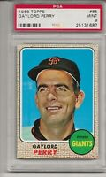 1968 TOPPS #85 GAYLORD PERRY, PSA 9 MINT, SET BREAK- HOF, SAN FRANCISCO GIANTS