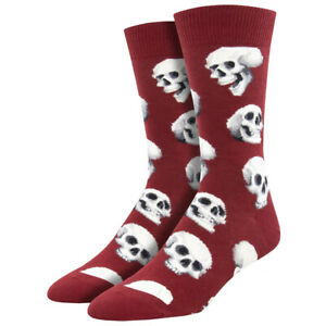 Socksmith Men's Crew Socks Sacred Skulls Maroon Red Novelty Footwear