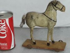 """Antique Paper Mache Horse Pull Toy  7"""" tall  Vintage"""