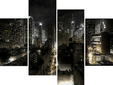 "20"" High X 40""+ Long New York City At Night Canvas Pictures Split Multi 4 Panels"