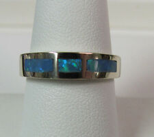 14KT White Gold OPAL INLAY Band Ring Size 8.5 R6372