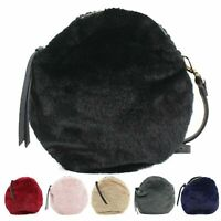 Ladies Faux Fur Round Bag Women's Crossbody Shoulder Party Fashion Bags New UK