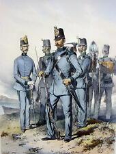 um1880 / Pionier - Corps. / Alter handcolorierter Stahlstich im Rahmen / Militär