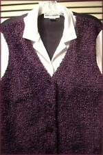 CATHY DANIELS Layered Look Blouse with Attached Plum Purple Boucle Vest (M)