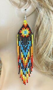 Handmade beaded Native style Black Star Sun Color Hook Earrings E61/7