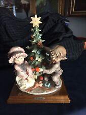 G. Armani 1982 boy girl & Christmas tree signed 'N'Crown Logo Capodimonte Style
