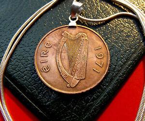 """IRISH PRIDE 1971 Bronze CELTIC HARP PENNY Pendant on a 30"""" 925 Silver Chain"""