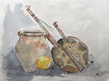 Watercolour Musical Instrument Banjo Mandolin Ukulele, Vase and Lemon 40 x 30 CM