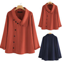 UK Womens Oversize Long Sleeve Shirts Lapel Button Blouse Ladies Tops Pullover