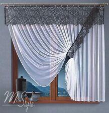 Set Of Net Sheer Curtain & Lace Swag Pelmet Valance Ready made Window Decoration