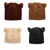 Women's Girls Winter Warm Hat Cute Cat Ear Hats Knitted Beanie Ski Cap Soft Chic