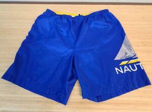 Vintage Nautica Swim Trunks Sailboat Boat Shorts 90s Yellow Blue XL Pockets