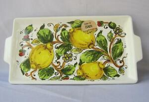 Italian Ceramic Porcelain Square Serving Tray Lemons Made in Italy Nova Deruta