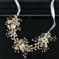 Handmade Crystal Beads Flower Headband Pearls with Ribbon Headdress Head Chain