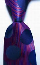 New Classic Striped Dot Blue Red JACQUARD WOVEN 100% Silk Men's Tie Necktie