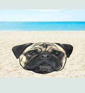 "Beach Towel Pug Shaped 64"" x 46.5"" Pool Lake Sun Bathing Swim Dog Blanket"