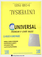 UNIVERSAL 11-Hole Premium 9-Pocket card Pages Box(100) x 2--for trading Cards