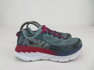 Hoka One One Bondi 5 Athletic Running Walking Shoes Green Red Womens Size 8.5