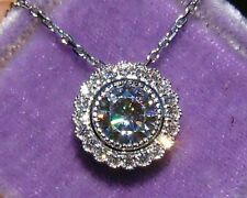 "3Ct Brilliant Cut Sparkle Moissanite Pendent 14K White Gold Finish 18""Free Chain"