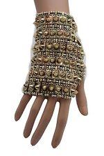 Women Antique Gold Gothic Hand Metal Half Glove Bracelet Spikes Unique Jewelry