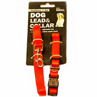 Dog lead and collar set red small adjustable 24.5cm to 40cm WIGIG
