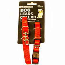 Dog lead and collar set red medium adjustable 25.5cm to 43cm WIGIG