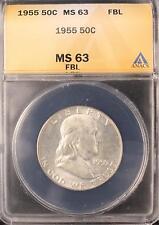 1955 FRANKLIN SILVER HALF DOLLAR BU UNC ANACS MS63 FBL FULL BELL LINES COIN 654