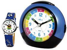 SET Kinderwecker + Armbanduhr Blau Jungen Lernwecker Analog - Atlanta 1678-5 KAU