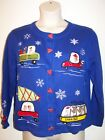 UGLY CHRISTMAS SWEATER Women's L Blue Button Front
