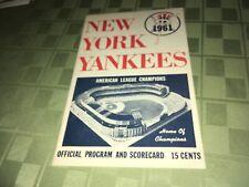 1961 New York Yankees Baseball Scorecard/Program MICKEY MANTLE HR WP