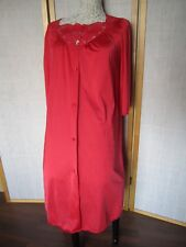 Shadowline Womens M Red Night Gown Lingerie Lace Vintage Robe
