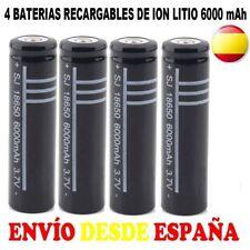 4x PILA 18650 BATERIA RECARGABLE 6000 mAh LITIO LI-ION 3,7V POWERBANK ESPAÑA ESP
