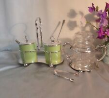 Two Antique Silver Plated Pickle Holders-Walker & Hall-Ceramic/Cut Glass