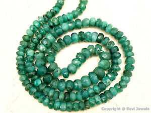 """EMERALD Graduated 3-5mm Faceted Rondelle 14""""str 45Ctw - (145-150 Beads approx.)"""