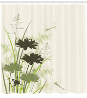 Green Shower Curtain Flowers Leaves Dragonfly Print for Bathroom 70 Inches Long