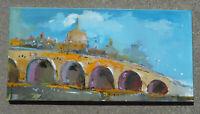 "ORIGINAL OIL PAINTING MODERN abstract 12""x24"" landscape Italy bridge blue sky"