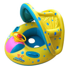 Inflatable Toddler Baby Swim Ring Float Kid Swimming Pool Water Seat w/ Canopy
