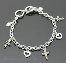SIMULATED DIAMOND CROSSES HEARTS CHARM STERLING SILVER FILL TOGGLE BRACELET