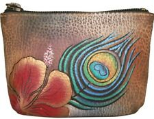"Anuschka #1031 PKF ""PREMIUM PEACOCK FLOWER"" Coin Purse 4""x2.75"" New With Tags"