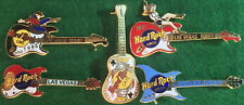 5 HARD ROCK 2 Cafe & 3 Hotel 1990s LAS VEGAS GUITAR PIN LOT Rodeo King Aria NEW!