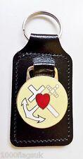Virtues of Faith, Hope & Charity Masonic Black Leather Key Fob - K062