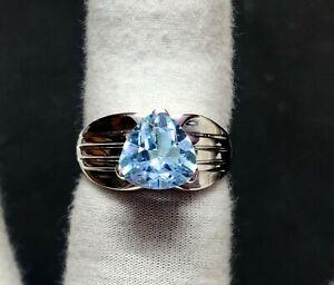 Blue Topaz Men Ring 5 Ct Blue Topaz Mens Band 10 mm Trillion Cut Topaz Ring