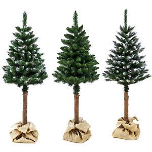 Künstlicher Weihnachtsbaum Tannenbaum Christbaum  Dekobaum mit echtem Baumstamm