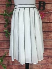 Talbots Skirt size 6 White Black Ribbon Striped Pleated Knee Church Career Slim